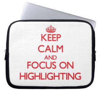 Behalten Sie Ruhe und Fokus auf der Hervorhebung Laptop Sleeve Schutzhüllen