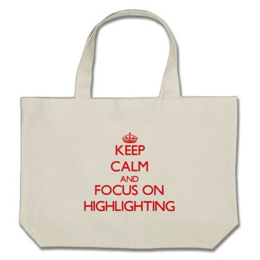 Behalten Sie Ruhe und Fokus auf der Hervorhebung Tasche