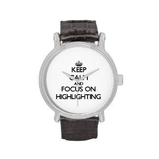 Behalten Sie Ruhe und Fokus auf der Hervorhebung Uhren