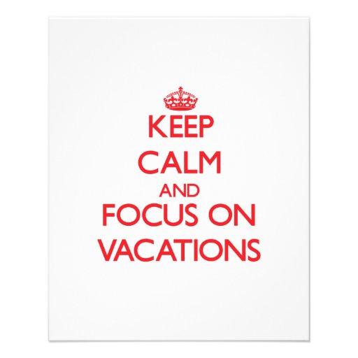 Behalten Sie Ruhe und Fokus auf Ferien Flyerdesign
