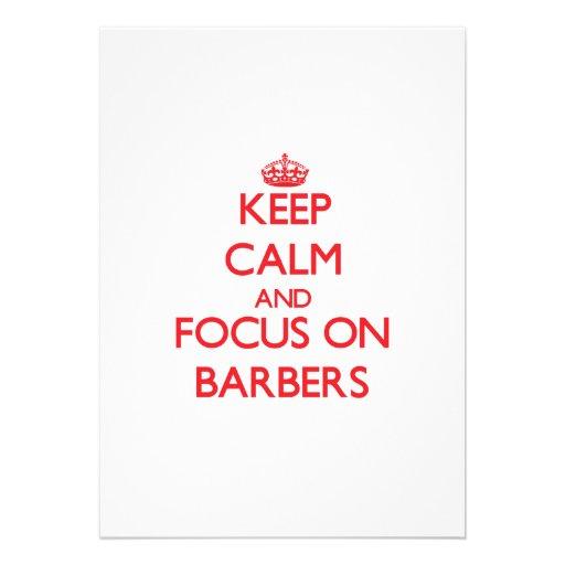 Behalten Sie Ruhe und Fokus auf Friseuren Individuelle Ankündigskarten
