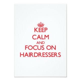 Behalten Sie Ruhe und Fokus auf Friseuren 12,7 X 17,8 Cm Einladungskarte