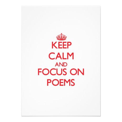 Behalten Sie Ruhe und Fokus auf Gedichten Einladungskarten