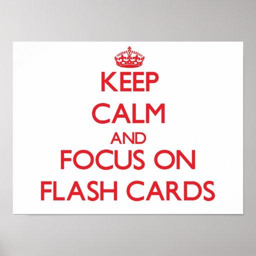 Behalten Sie Ruhe und Fokus auf grellen Karten Plakate