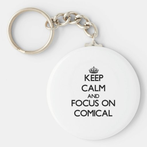 Behalten Sie Ruhe und Fokus auf komischem Schlüsselanhänger