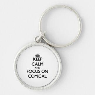 Behalten Sie Ruhe und Fokus auf komischem Schlüsselbänder
