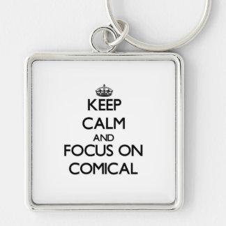 Behalten Sie Ruhe und Fokus auf komischem Schlüsselband