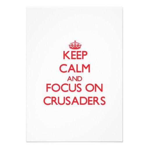 Behalten Sie Ruhe und Fokus auf Kreuzfahrern Personalisierte Ankündigungskarten