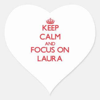 Behalten Sie Ruhe und Fokus auf Laura Herz Sticker