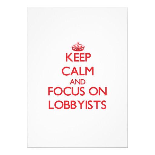 Behalten Sie Ruhe und Fokus auf Lobbyisten Individuelle Einladungskarte