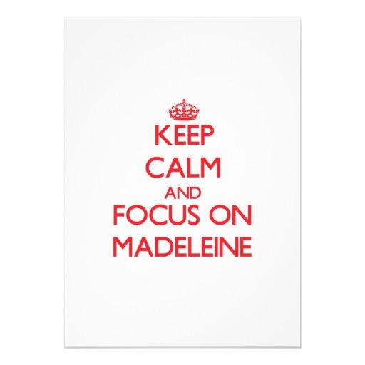 Behalten Sie Ruhe und Fokus auf Madeleine Ankündigungskarten