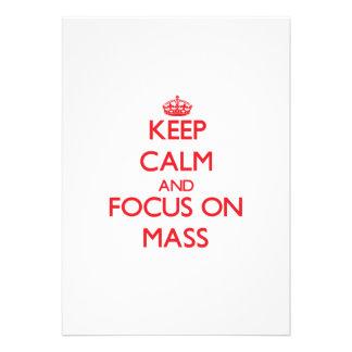 Behalten Sie Ruhe und Fokus auf Masse