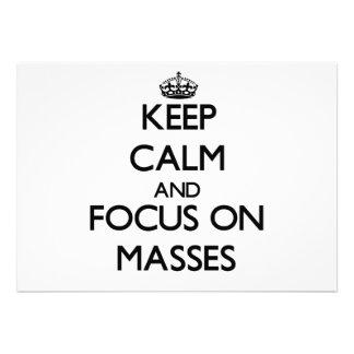 Behalten Sie Ruhe und Fokus auf Massen Ankündigung