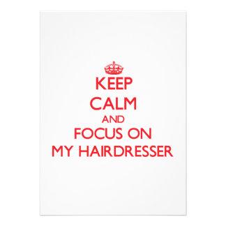 Behalten Sie Ruhe und Fokus auf meinem Friseur Personalisierte Ankündigung