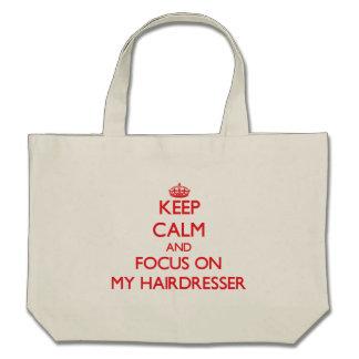 Behalten Sie Ruhe und Fokus auf meinem Friseur Tragetaschen
