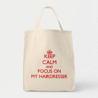 Behalten Sie Ruhe und Fokus auf meinem Friseur Leinentaschen