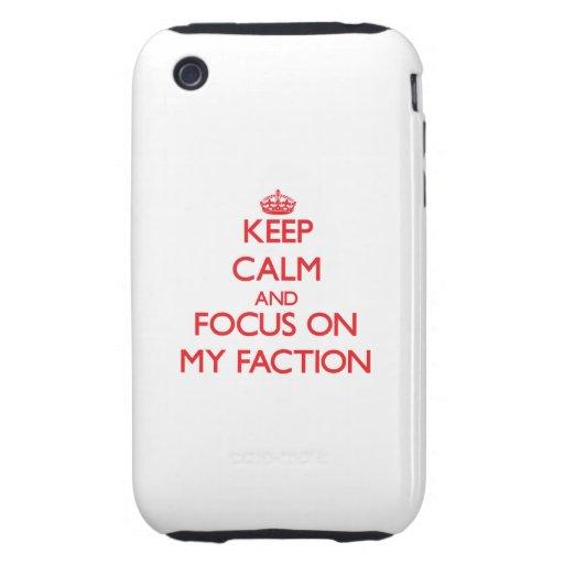 Behalten Sie Ruhe und Fokus auf meiner Partei Tough iPhone 3 Hülle