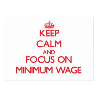 Behalten Sie Ruhe und Fokus auf Mindestlohn Visitenkarten Vorlage