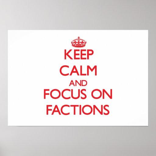Behalten Sie Ruhe und Fokus auf Parteien Plakatdrucke