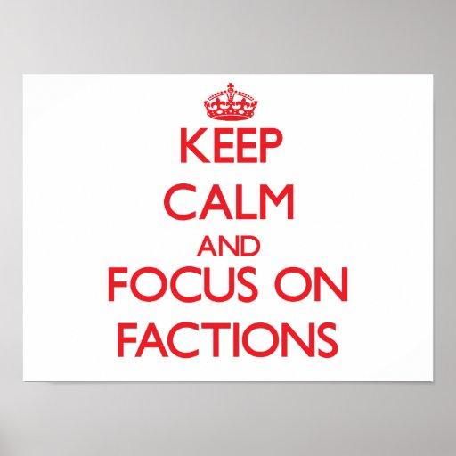Behalten Sie Ruhe und Fokus auf Parteien Plakat