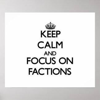 Behalten Sie Ruhe und Fokus auf Parteien Posterdruck