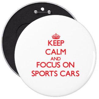 Behalten Sie Ruhe und Fokus auf Sport-Autos Button