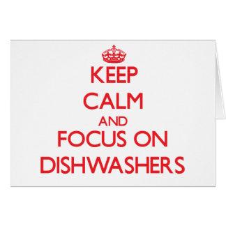 Behalten Sie Ruhe und Fokus auf Spülmaschinen Grußkarte
