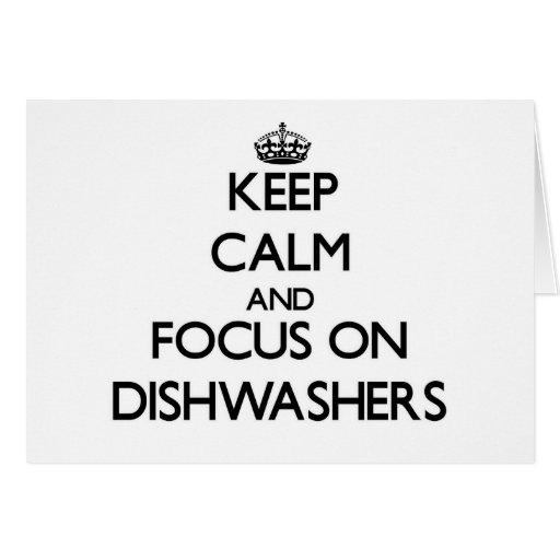 Behalten Sie Ruhe und Fokus auf Spülmaschinen Grußkarten