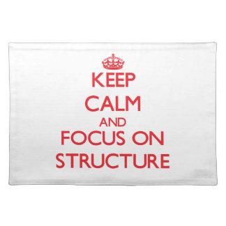 Behalten Sie Ruhe und Fokus auf Struktur Tisch Sets