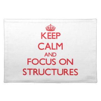 Behalten Sie Ruhe und Fokus auf Strukturen Tisch Set