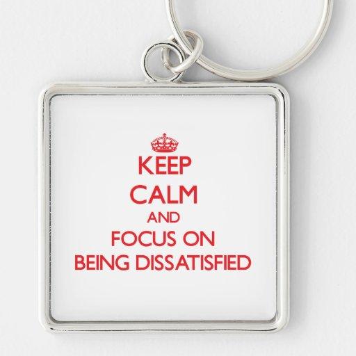 Behalten Sie Ruhe und Fokus auf unzufrieden Schlüsselbänder