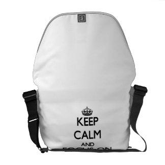 Behalten Sie Ruhe und Fokus auf Verpflichtung Kurier Taschen