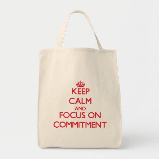 Behalten Sie Ruhe und Fokus auf Verpflichtung Einkaufstaschen