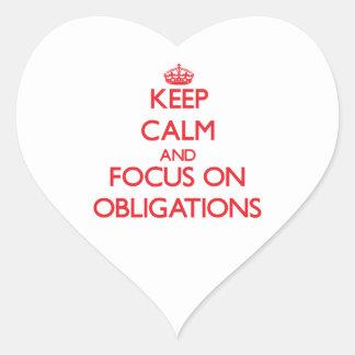 Behalten Sie Ruhe und Fokus auf Verpflichtungen Herz Aufkleber
