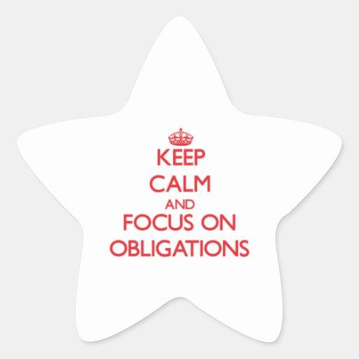 Behalten Sie Ruhe und Fokus auf Verpflichtungen Stern Aufkleber