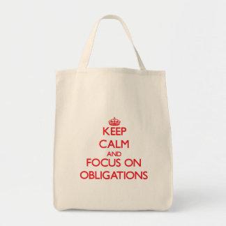 Behalten Sie Ruhe und Fokus auf Verpflichtungen Einkaufstasche