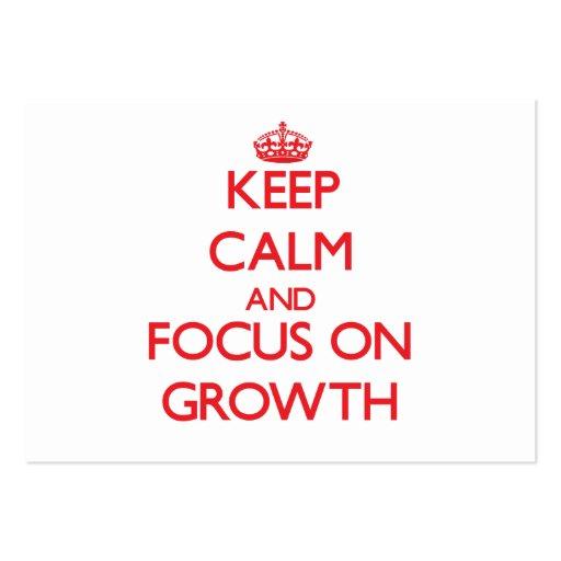 Behalten Sie Ruhe und Fokus auf Wachstum Visitenkarten