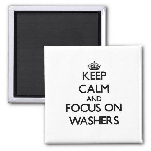 Behalten Sie Ruhe und Fokus auf Waschmaschinen Kühlschrankmagnete