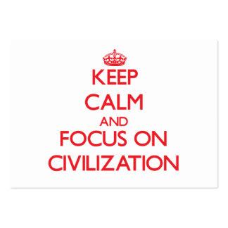 Behalten Sie Ruhe und Fokus auf Zivilisation Mini-Visitenkarten
