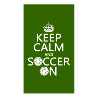 Behalten Sie Ruhe und Fußball an Visitenkarte