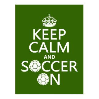 Behalten Sie Ruhe und Fußball an Postkarte