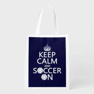 Behalten Sie Ruhe und Fußball an Wiederverwendbare Einkaufstasche