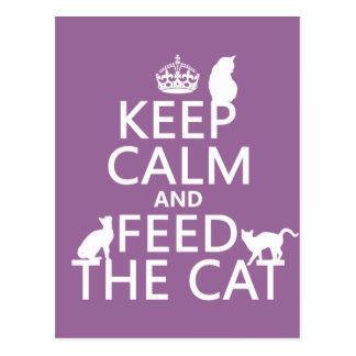 Behalten Sie Ruhe und füttern Sie die Katze Postkarte