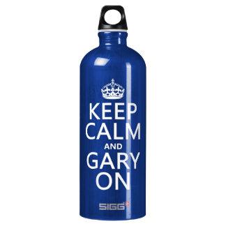 Behalten Sie Ruhe und Gary auf (irgendeine Farbe) Aluminiumwasserflasche
