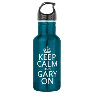 Behalten Sie Ruhe und Gary auf (irgendeine Farbe) Edelstahlflasche
