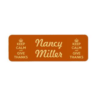 Behalten Sie Ruhe und geben Sie Dank-Ernte-Orange