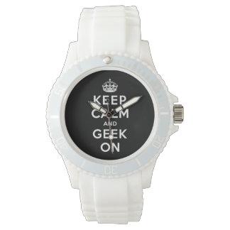 Behalten Sie Ruhe und Geek an Uhr