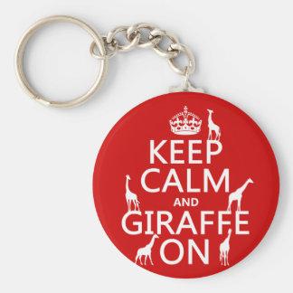 Behalten Sie Ruhe und Giraffe auf (fertigen Sie Standard Runder Schlüsselanhänger