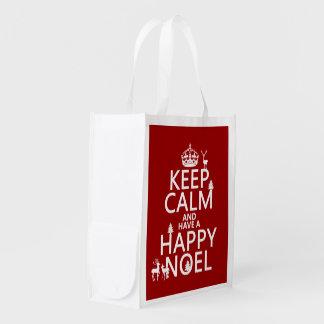 Behalten Sie Ruhe und haben Sie ein glückliches Wiederverwendbare Einkaufstasche