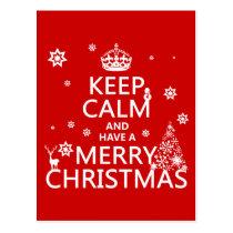 Behalten Sie Ruhe und haben Sie frohen Weihnachten Postkarte